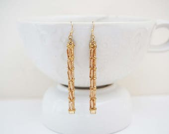 SALE // Champagne and Brass Wire Wrapped Beaded Statement Earrings
