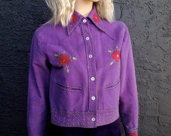 Boho 70s Purple Crop Jacket -  Red Rose Embroidered