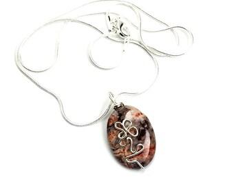 Rhyolite Gemstone Necklace Valentine Jewelry Wire Wrapped Pendant Statement Jewelry Handcrafted Metaphysical Jewelry Pendant Silver Jewelry