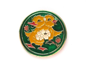 Ducklings with flowers, Vintage metal collectible badge, Brooch, Soviet Vintage Pin, Vintage Badge, Made in USSR, 1980s