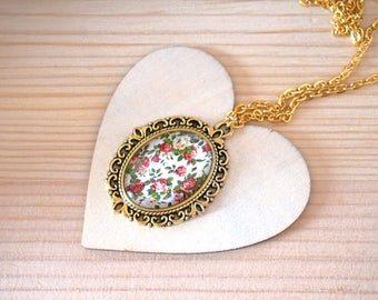Rose necklace Gold cameo necklace Rose flower necklace Rose jewelry Rose gift for her Rose pendant Gold bridesmaid jewelry Delicate necklace