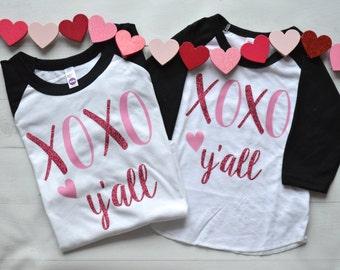 Girls valentines shirt - valentines shirt - XOXO shirt -glitter valentine shirt -  love shirt - XOXO y'all