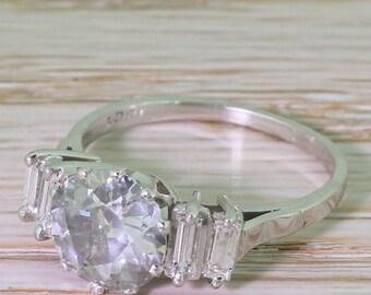 Mid Century 2.08 Carat Old Cut Diamond & Baguette Cut Diamond Ring, circa 1965