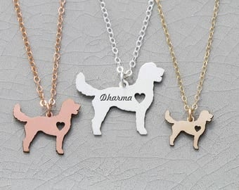 SALE • Goldendoodle Dog Necklace • Sterling Silver Dog Jewelry • Mixed Breed Dog •Pet Memorial Charm •Silver Dog Loss Charm •Animal Necklace