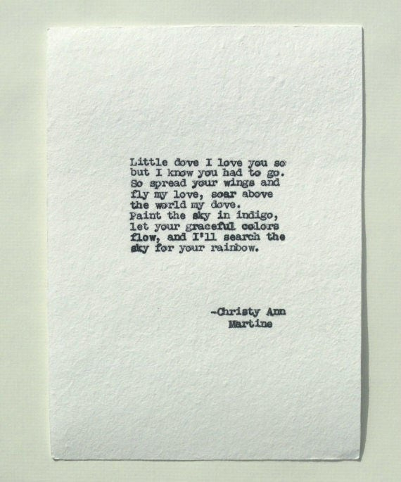 Miscarry Gift - Sympathy Poem for Loss of Baby or Child - Miscarriage Gift - Comforting Little Dove Poem Hand Typed by Poet