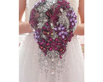 Purple teardrop brooch bouquet. Full jeweled wedding bridal cascading violet, purple, lavender, silver burgundy broach boquet, bling crystal