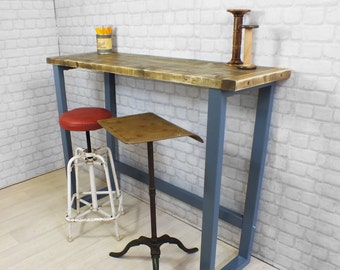 Vintage Industrial Reclaimed Rustic Timber Mid Century Farm Breakfast Bar  Table Bar Height Table Hairpin Legs With Industrial Bar Table.