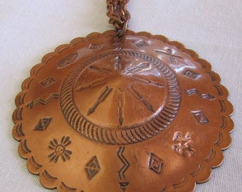 Copper Pendant and Chain Necklace with Southwest Designs