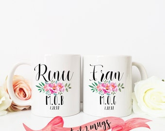 Mother of the Bride and Groom Personalized Mug Set / Custom Name and Date / Present Favor for Parent 11 oz or 15 oz Ceramic Dishwasher Safe