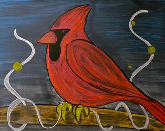 Cardinal done in colored chalk