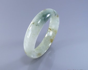 Authentic Jade jadeite (Grade A) Natural Bangle Fei Cui 翡翠 green & Brown with spot light green. hand carved block 53mm JB425