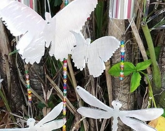 Beaded butterfly and dragonfly chimes