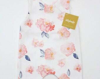 Baby Romper/ Floral Baby Romper/ Coral Baby Romper / Watercolor Floral / Baby Gift / Floral Bodysuit / Floral Baby Gift/ Modern Baby Romper