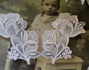 2 Vintage french appliques guipure lace, made in France, 1970s, ivory color