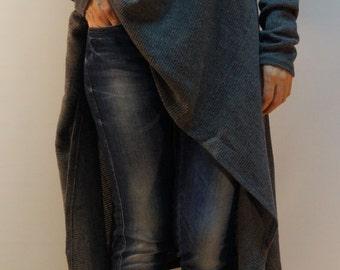 Grey Asymmetrical Sweater/Cozy Sweater/ Sweater Dress/Knit Dress/Women Ribbed Sweater/Maxi Blouse/Oversize knit top/Winter blouse/ F1310