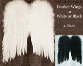 Feather Angel Wings in White or Black ~ 4 sizes  ~ Wedding Flower Girl, Fairy Wings, Costume, Fantasy, Christmas.