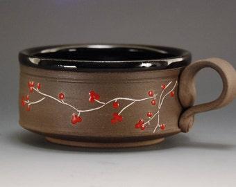 Soup bowl with handle, Ceramic soup bowl, Pottery bowl, Handmade soup bowl, Handmade ceramic bowl, Rice bowl , stoneware bowl, Cereal  bowl
