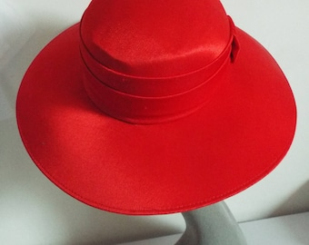 Ladies Wide Brimmed Satin Bucket Brimmed Hat By Marida