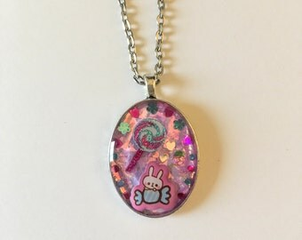 SALE! Sparkly Cute Bunny Resin Necklace