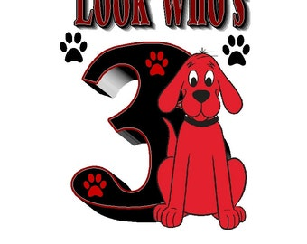 Clifford The Big Red Dog Birthday Iron on Transfer personalized custom iron on T-shirt iron on transfer