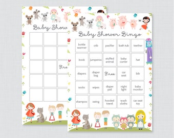 Nursery Rhyme Themed Baby Shower Bingo Cards - Printable Blank Bingo Cards AND PreFilled Cards - Book Themed Baby Shower Bingo Cards - 0068