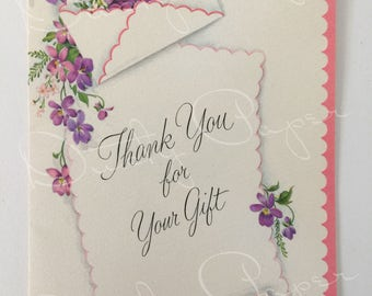 Thank You for Your Gift - Unused vintage 1950s Hallmark Thank You Card
