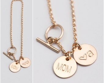 Personalized Bracelet, Gift for Mom, Initial Bracelet, Personalized Gift for Mom, Sister, Dainty Charm Bracelet, in Silver, Gold Fill [9mm]