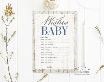 Wishes for Baby Card Well Wishes for Baby Rustic Baby Shower Games Rustic Baby Shower Games Boy Printable // INSTANT DOWNLOAD No.645BABY