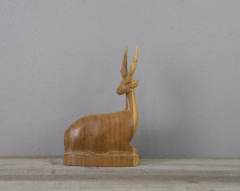 Vintage wood antelope carving | wooden gazelle statue | #2554
