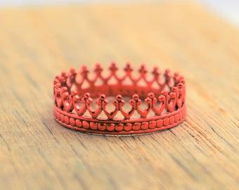 Red Ring, Red Wedding, Red Crown Ring, Princess Ring, Red Ring, Red Jewelry, Tiara Ring, Silver Crown Ring, Queen Ring. Princess Crown Ring