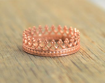 Rose Gold Crown Ring, Princess Ring, Rose Gold Ring, Tiara Ring, Rose Gold Princess Ring, Queen Ring, Princess Crown Ring, Unique Ring