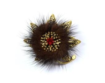 Vintage fur flower brooch, brown fur pin, red rhinestone, mink fur, furry brooch, fur pin, floral pin, goldtone, statement brooch, festive