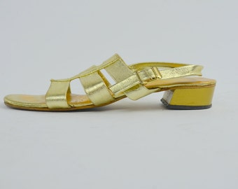 Golden | 7.5 | 1970s Vintage Block Heel Shoes 70s Slingback Strappy Gold Shoes