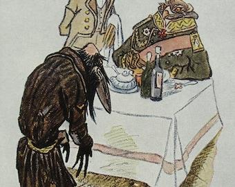 "Illustrator Rachev Vintage Soviet Postcard ""The crow that went in search of truth"" Saltykov-Shchedrin fairy tale - 1957. Sovetskiy hudozhnik"
