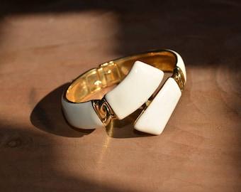 1970s TRIFARI Bracelet ~ Vintage Cream Enamel&Gold Tone ~ Wide Hinged Bangle Bracelet ~ 1960s 70s Signed Crown Trifari Jewelry