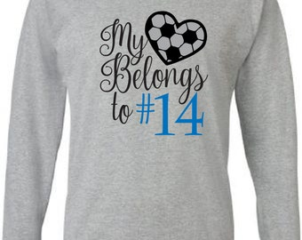 Soccer mom shirt.  Personalized with player's number.  My heart belongs to my player grey long sleeve tee. Custom soccer mom tshirt