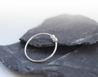 Twisted Beads Sterling Silver Fidget Ring ~ stacking ring, stackable, silver band, thin band, worry ring, fidget ring, spinner ring, anxiety