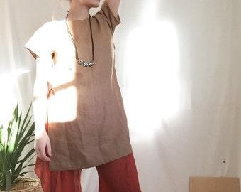 Linen Side-slit Dress