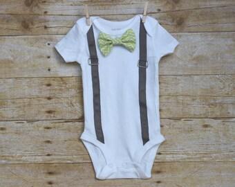Gray Suspender Baby Bodysuit with Interchangeable Bowties, Interchangeable Bowtie Onesie