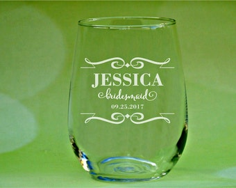 Country Wedding Glasses, Bridesmaid Gifts, Personalized Bridesmaid Wine Glasses, Bridesmaid Proposal, Gift for Bridesmaids, Bridal Shower