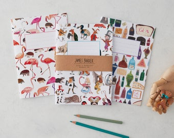 Alice in Wonderland Notebooks Set of 3: Alice Characters, Flamingos and Hedgehogs and Eat Me Drink Me