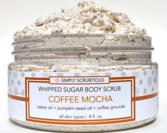 COFFEE MOCHA Sugar Body Scrub-Coffee Body Scrub-Emulsified Body Scrub-Shower Smoothie- 8 oz.