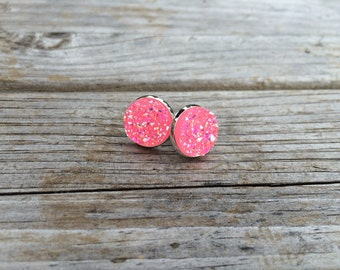 Light Pink Druzy Earrings, Faux Druzy Earrings, Bridal Druzy, Stud Earrings, Silver Studs, Valentines earrings