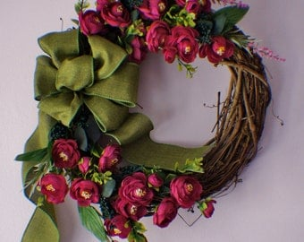 Spring Wreaths, Summer Wreath, Pring Wreath For Front Door, Ranunculus  Wreath, Bright