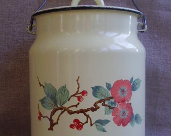 Vintage Enamel Yellow Flowers Milk Can Wooden Handle Japanese cherry