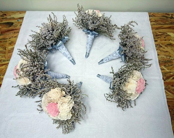 Set of Ivory blush pink silver sola flowers wedding BOUQUET dried limonium satin ribbon lace Flower girl Bridesmaids vintage elegant toss