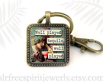 Tequila Lover Keychain, Booze Humor, Vintage Photo Pendant, Tequila Gift, Gift for Women, Gift under Ten, Drinking Buddies, Gift under ten