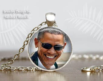 Barack Obama Earrings, Barack Obama Necklace, Obama Jewelry, 44TH President of the United States, Obama Gift, Obama Farewell Speech,