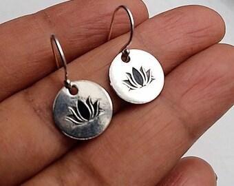 Lotus Earrings, Sterling Silver Earrings, Boho Earrings, Birthday Gift