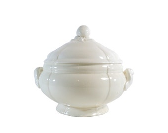 Antique Large French Soup Tureen with Lid Sarreguemines, Majolica, Creamware, Hollow Deep Dish